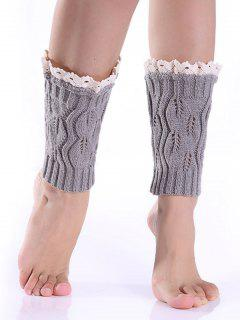 Lace Edge Knitted Boot Cuffs - Light Gray