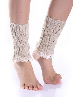 Lace Edge Knitted Boot Cuffs - Beige