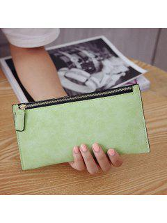 PU Leather Zip Up Coin Purse - Light Green
