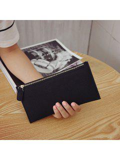 PU Leather Zip Up Coin Purse - Black