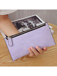 PU Leather Zip Up Coin Purse - Light Purple