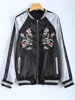 Color Block Embroidery Jacket - Black S