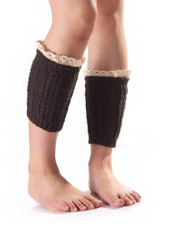 Lace Edge Wheat Knit Boot Cuffs - Deep Gray