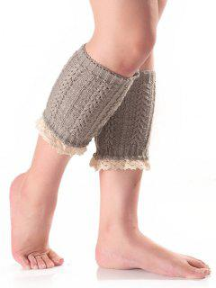 Lace Edge Wheat Knit Boot Cuffs - Light Gray