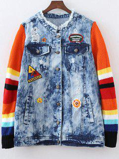 Denim Splicing Ripped Patched Jacket - Blue L