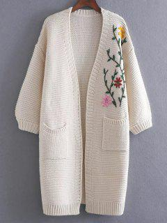 Vintage Floral Embroidered Cardigan - White
