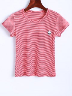 Striped Alien Embroidered Cropped T-Shirt - Red And White S