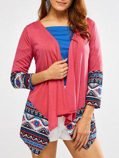 Open Front Printed Draped Blouse - Rose Red S
