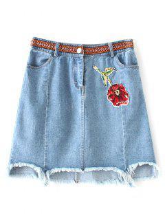 Asymmetric Floral Denim Skirt - Light Blue S