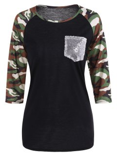 Sequined Pocket Baseball Tee - Black S