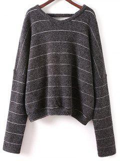 Striped V Neck T-Shirt - Deep Gray