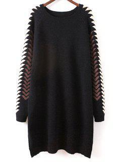 Geometric Slit Sweater Dress - Black
