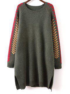 Geometric Slit Sweater Dress - Green