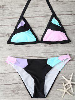 Patchwork Stringy Plunge Bikini - Multicolor M
