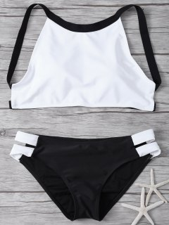 High Neck Padded Color Block Bikini Bathing Suit - White And Black S
