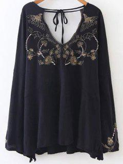 Embroidered Beading Flowy Blouse - Black M