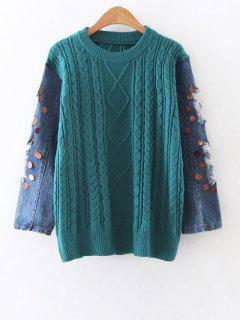 Cable Knit Denim Panel Sequins Sweater - Green