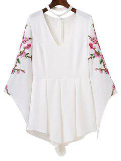 Embroidered Sleeve Choker Romper - White S