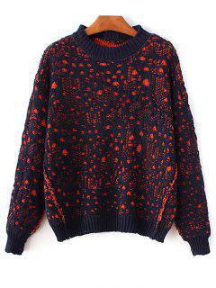Crew Neck Crochet Sweater - Pearl Indigo Blue
