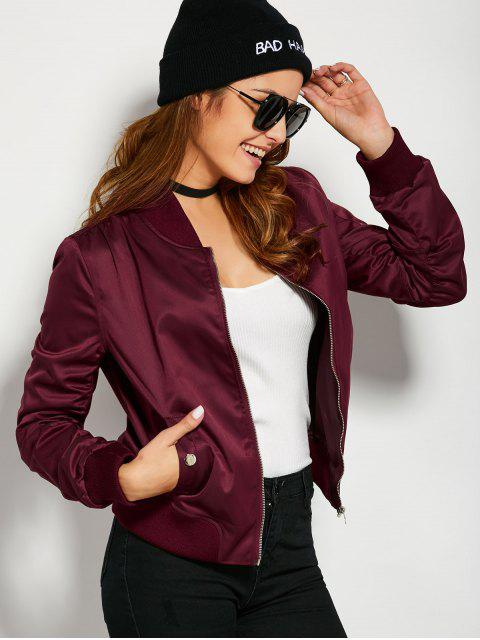 lady Pockets Bomber Jacket - BURGUNDY S Mobile