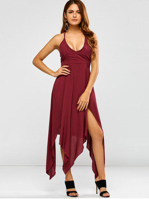 chic Strappy Back Hankerchief Prom Dress - WINE RED S Mobile