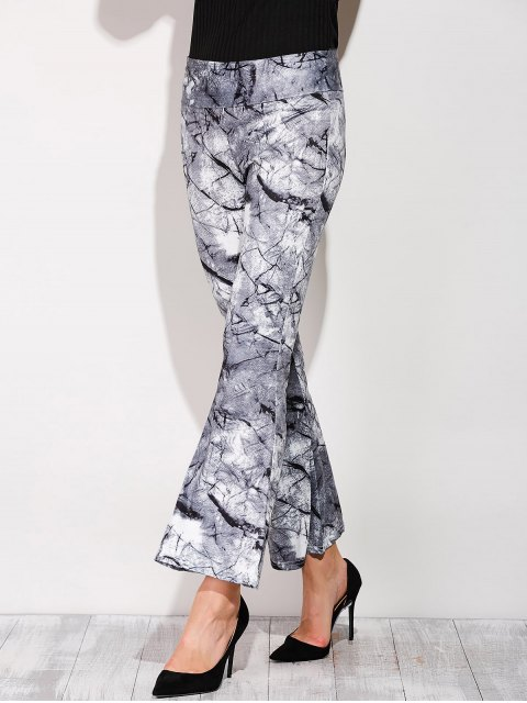 outfits Slimming Boot Cut Pants With Chinese Painting - COLORMIX S Mobile