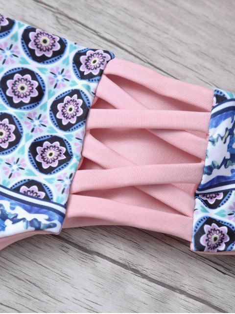 shop Criss-Cross Tribal Print Bikini - PINK L Mobile