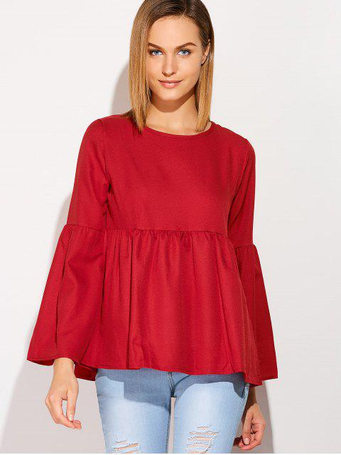 womens Flare Sleeve Smock T Shirt - WINE RED XL Mobile