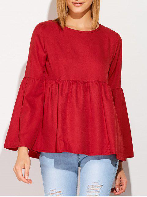 women Flare Sleeve Smock T Shirt - WINE RED L Mobile