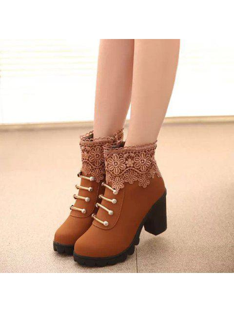 unique Metal Embroidery Zipper Ankle Boots - LIGHT BROWN 39 Mobile