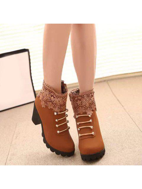 sale Metal Embroidery Zipper Ankle Boots - LIGHT BROWN 40 Mobile