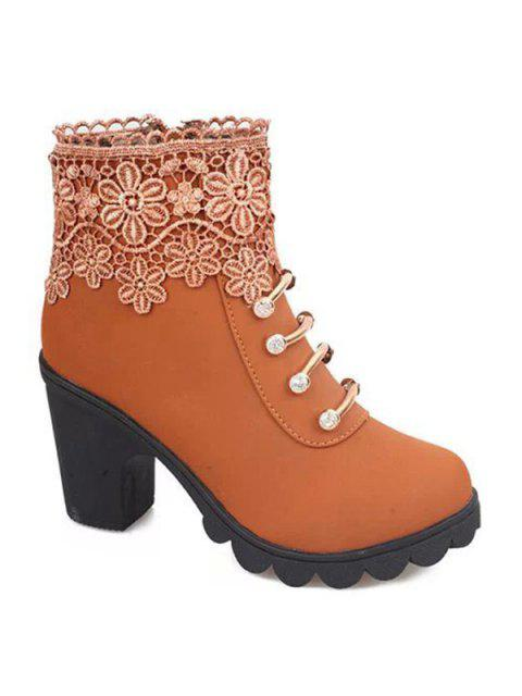 buy Metal Embroidery Zipper Ankle Boots - LIGHT BROWN 38 Mobile