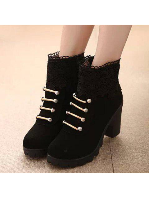 women's Metal Embroidery Zipper Ankle Boots - BLACK 37 Mobile