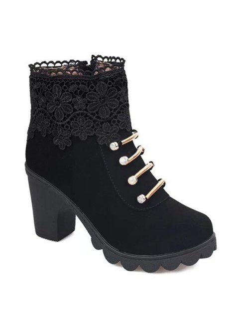 ladies Metal Embroidery Zipper Ankle Boots - BLACK 38 Mobile