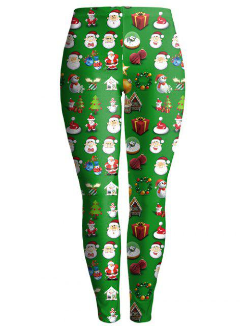 ladies Christmas Gift Print Ankle Leggings - GREEN L Mobile