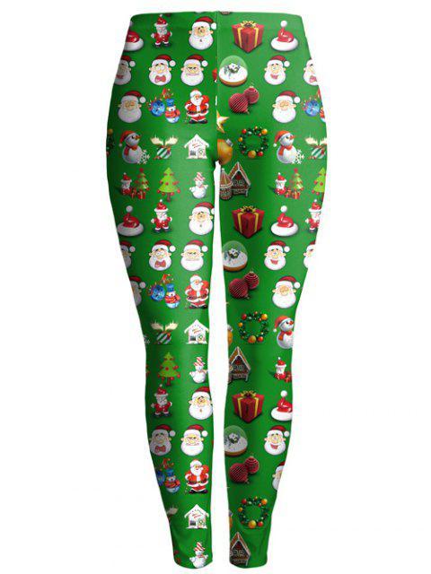Weihnachtsgeschenk Print Ankle Leggings - Grün M Mobile