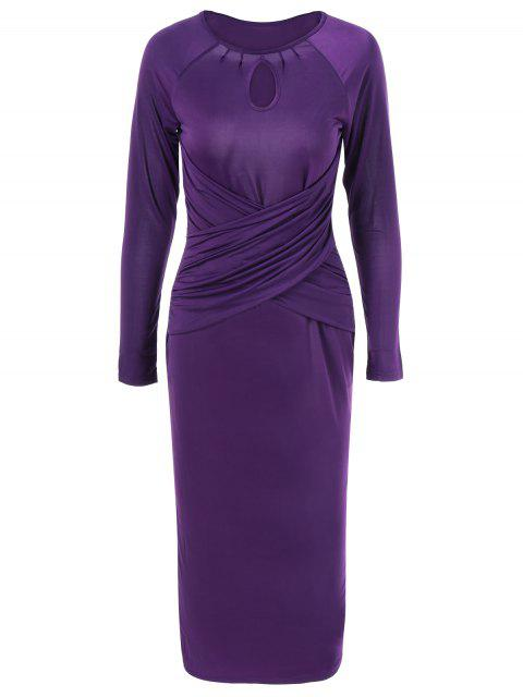 latest Midi Bodycon Keyhole Collar Dress with Long Sleeve - PURPLE S Mobile