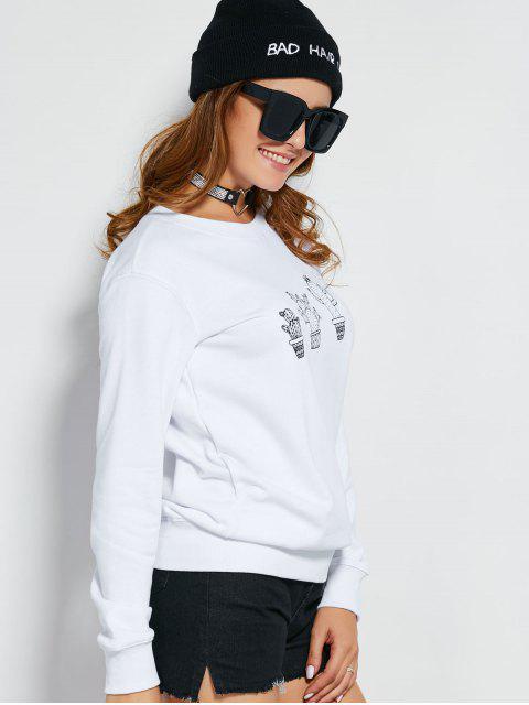 Sweatshirt blanc et casual de pur coton - Blanc M Mobile