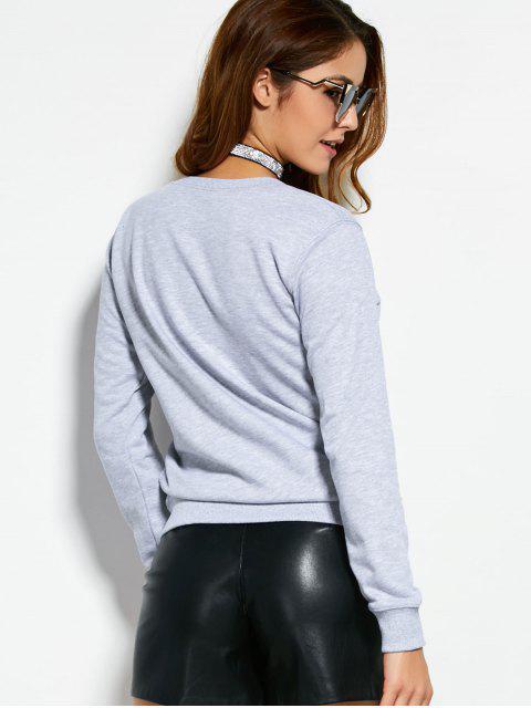 ladies Letter Dogs Graphic Sweatshirt - GRAY M Mobile