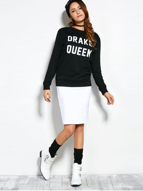 latest Crew Neck Sweatshirt With Text - BLACK M Mobile