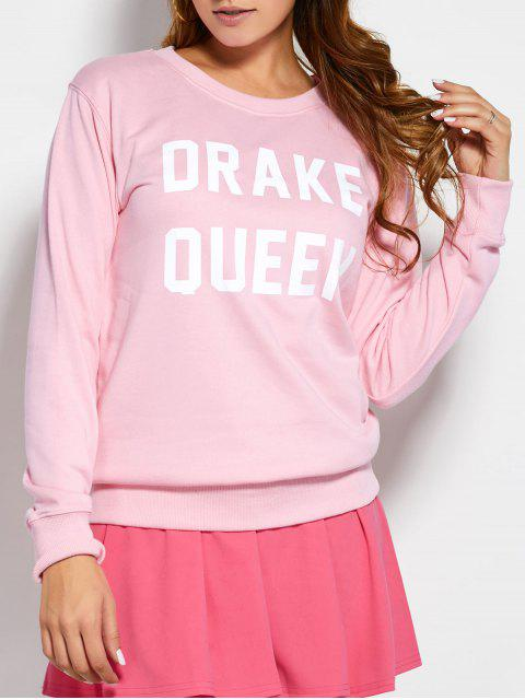 unique Crew Neck Sweatshirt With Text - PINK M Mobile