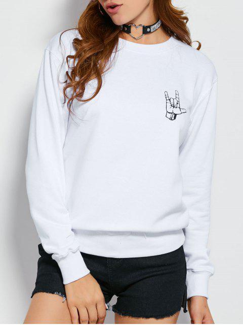 women's Gesture Graphic Pullover Sweatshirt - WHITE S Mobile