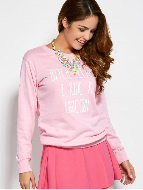 best Text Printed Sweatshirt - PINK S Mobile