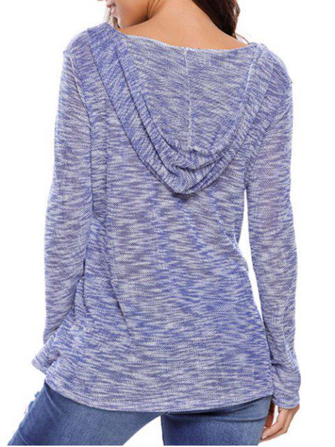 Pull gris à capuche - Bleu S Mobile