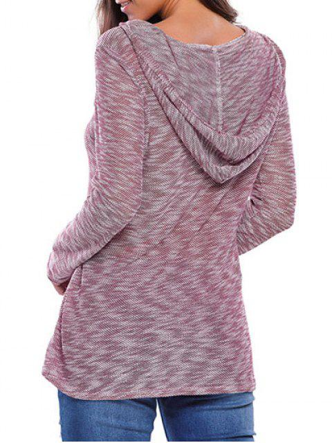 trendy Heathered Hooded Knitwear - PLUM L Mobile