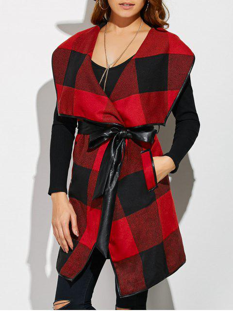 buy Belted Wrap Plaid Coat - RED WITH BLACK XL Mobile