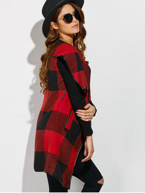 sale Belted Wrap Plaid Coat - RED WITH BLACK M Mobile
