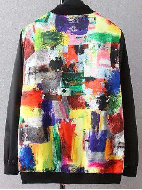 unique Scrawl Pattern Bomber Jacket - COLORMIX XL Mobile