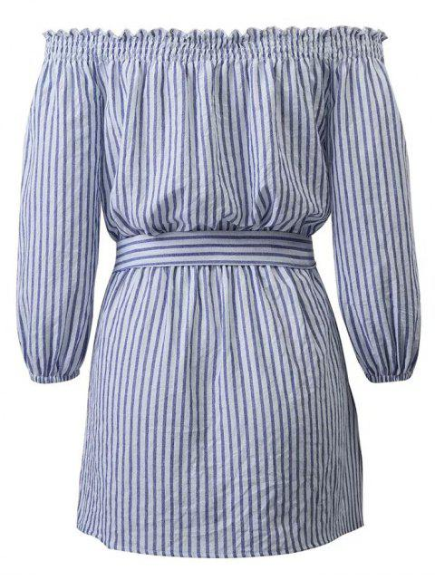 ladies Striped Off Shoulder Belted Dress - BLUE AND WHITE M Mobile
