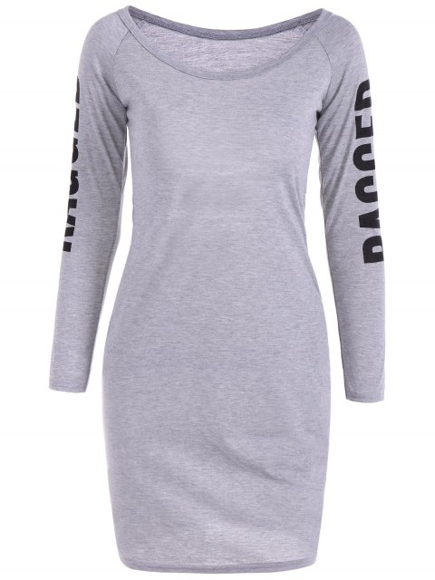 sale Back Cutout Graphic Bodycon Dress - GRAY L Mobile